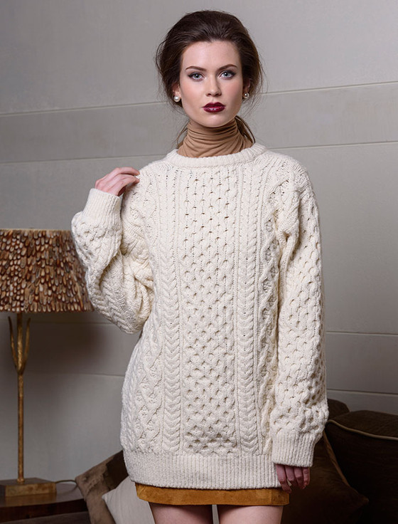Oversized Wool Cashmere Aran Sweater