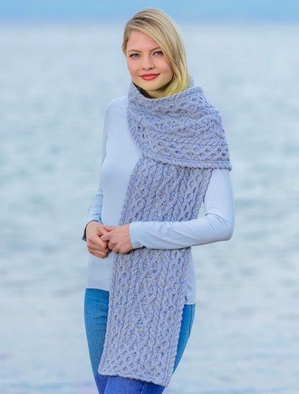 Women's Luxury Aran Honeycomb Scarf - Sky