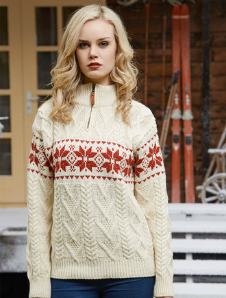 Women's Winter Fair Isle Zip-Neck Aran