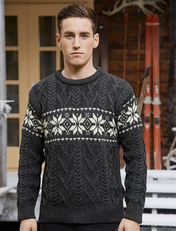 Winter Snowflake Crew Neck Aran, Irish wool sweater, heavyweight Aran