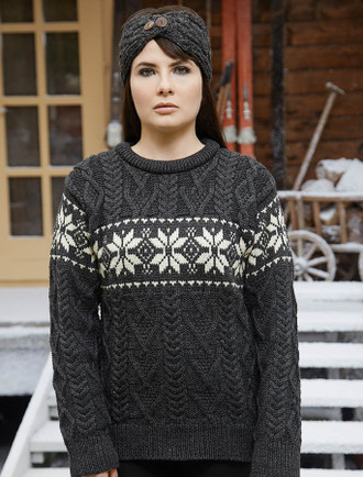 Women's Winter Fair Isle Crew Neck Aran - Charcoal/Natural