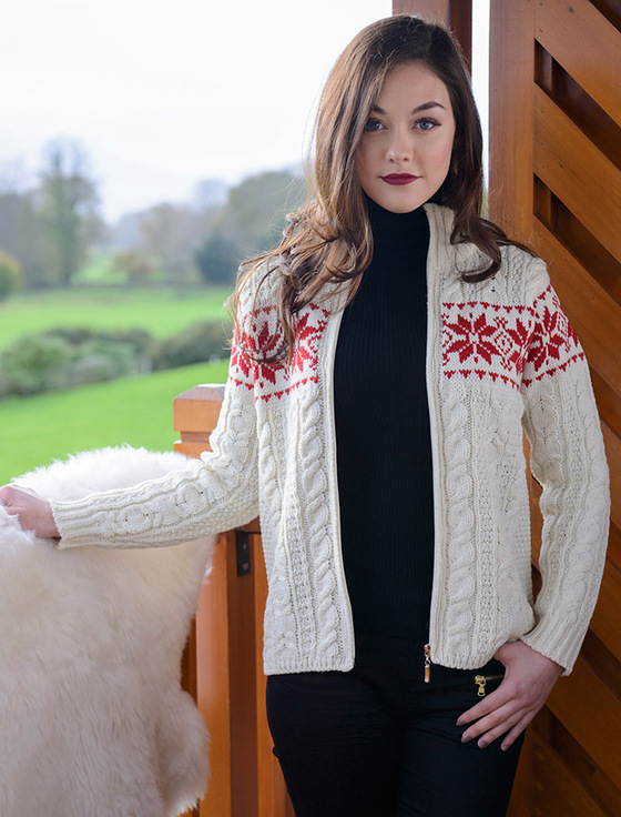 Winter Snowflake Zip Aran Cardigan, Irish wool cardigan ...