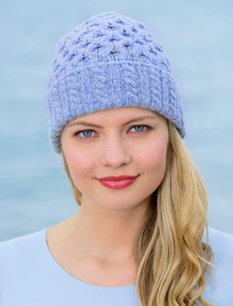 Women's Luxury Aran Honeycomb Hat - Sky Blue