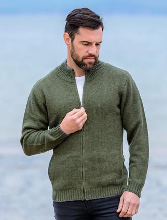 Mens Full Zip Lambswool Cardigan - Green