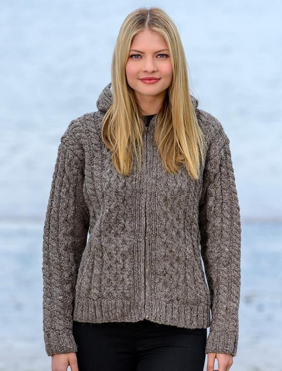 Premium Handknit Fleece Lined Hooded Cardigan - Brown