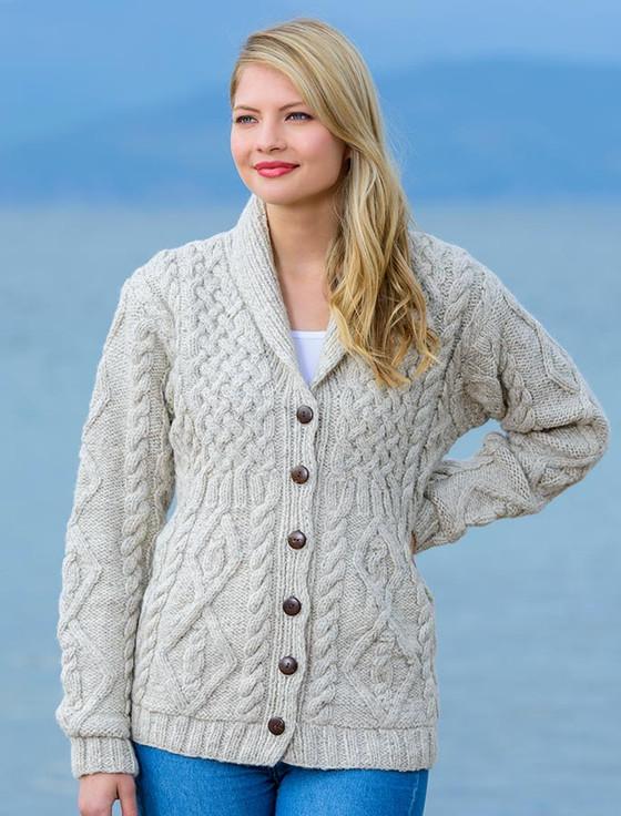 Premium Handknit Fleece Lined Buttoned Cardigan - Oatmeal