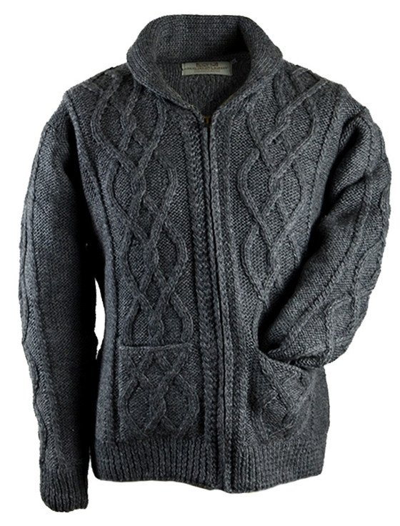 Premium Handknit Shawl Neck Zip Cardigan - Grey