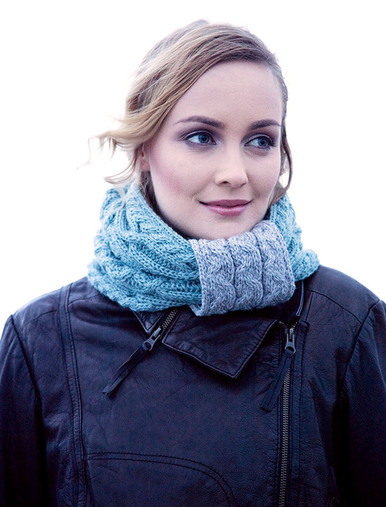 Aran Two-Tone Snood Scarf - Misty Blue
