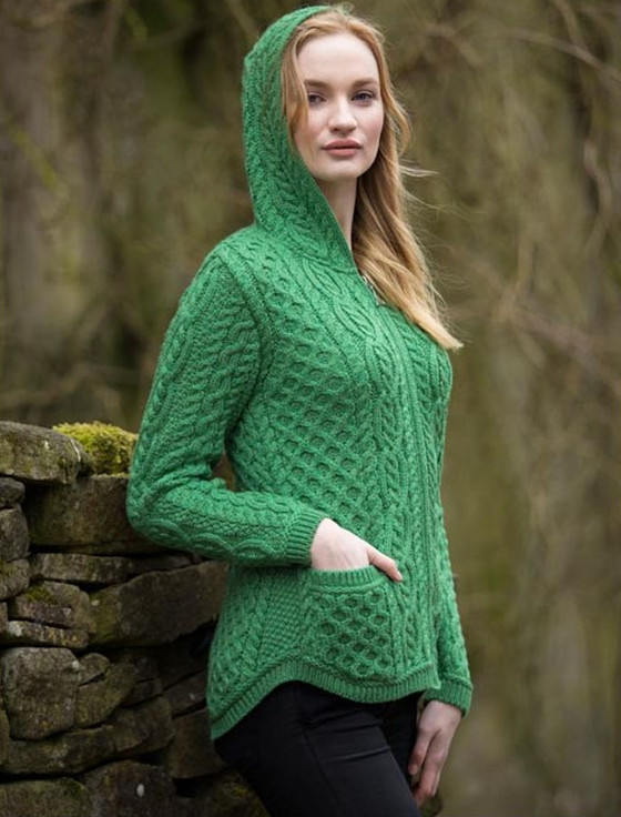 Cable Knit Hoodie with Celtic Knot Zipper Pull