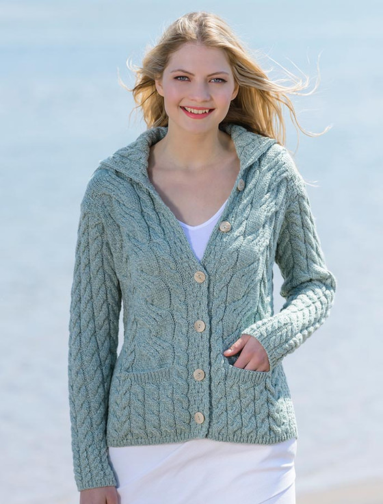 Honeycomb cardigan, Button-Up Cardigan, wool, ladies