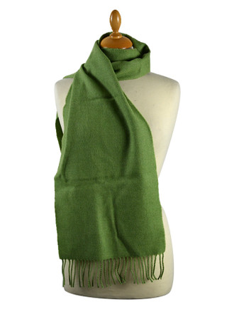 Narrow Lambswool Checked Scarf - Apple Green
