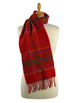 Narrow Lambswool Checked Scarf - Red Pink Plaid