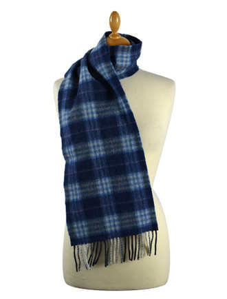 Narrow Lambswool Checked Scarf - Denim Blue Red