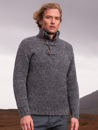 Wool Sweater with Ribbed Shoulders and Toggles - Greystone
