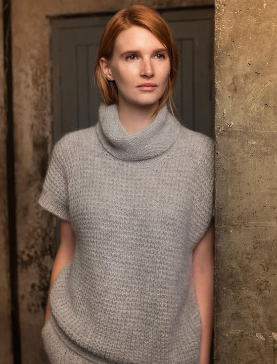 Short Sleeve Waffle Stitch Sweater