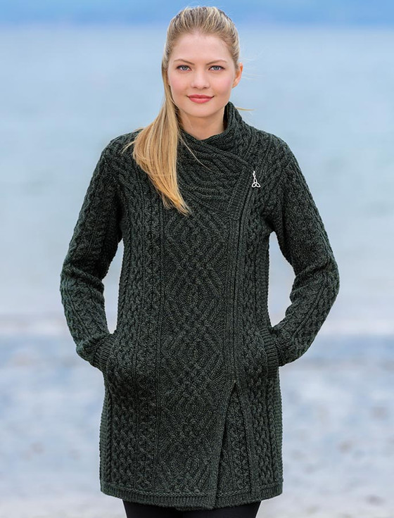 Cable Knit Coatigan with Celtic Knot Side Zip - Army