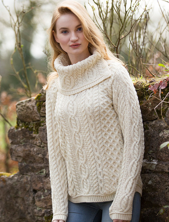 Cowl Button Neck Aran Sweater | Aran Sweater Market