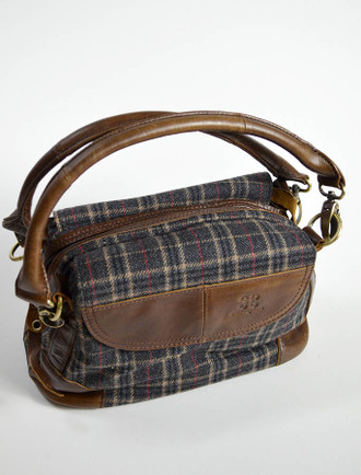 Tartan & Leather Double Strap Bag