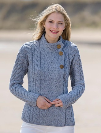 Luxury Trellis and Cable Cardigan - Ocean Grey