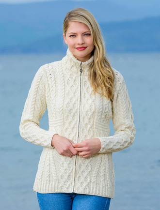 Cable Aran Cardigan with Zipper - White