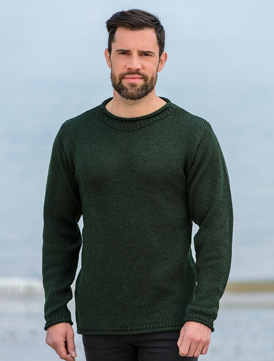 Merino Roll Neck Sweater , Army