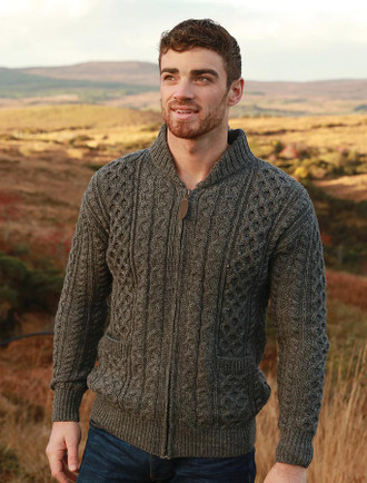 Aran Zip Cable Knit Cardigan with Collar
