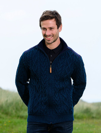 Full Zip Cardigan with Patches - Blackwatch