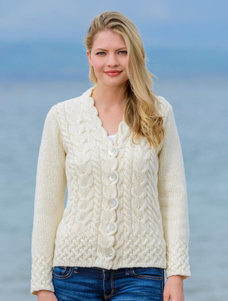 Luxury Aran V-neck Cardigan - White