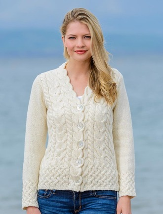 Luxury Aran V-neck Cardigan - White