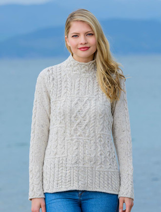Luxury Patchwork Aran Sweater - Chalk