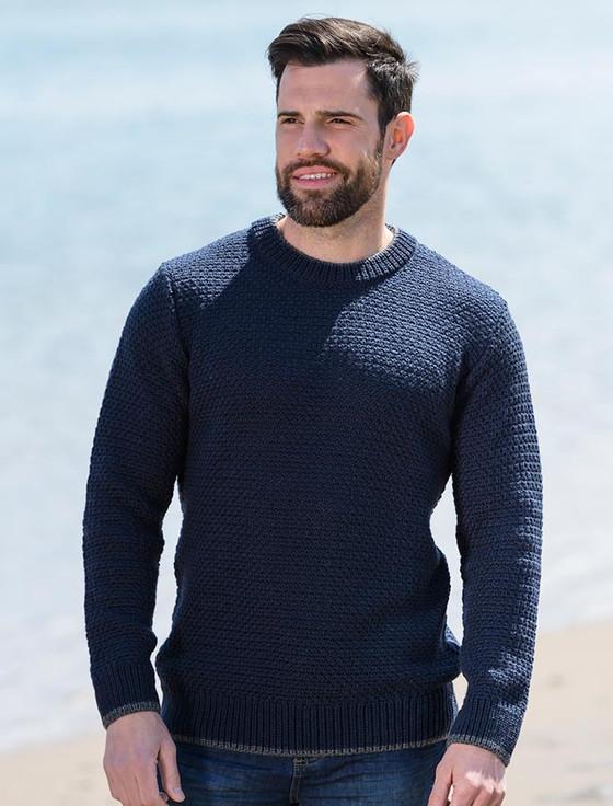Merino Textured Crew Neck Sweater Aran Sweater Market