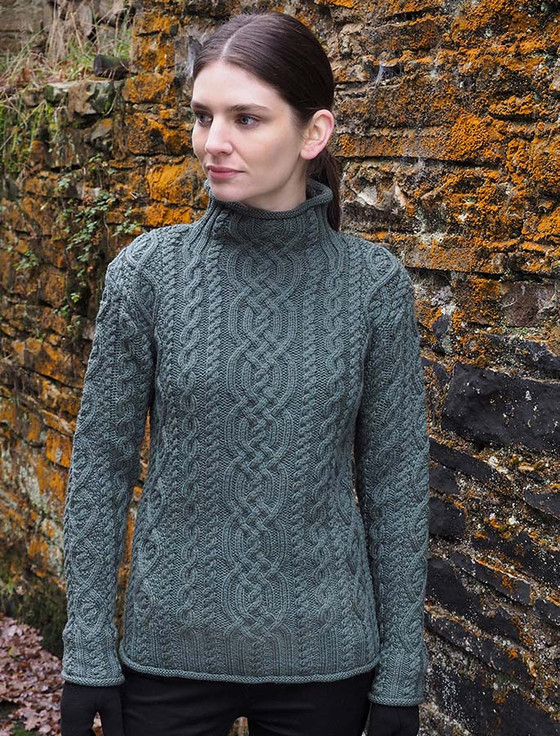 Luxury Aran Roll Neck Sweater - Tundra