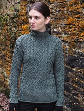 Luxury Aran Roll Neck Sweater - Tundra