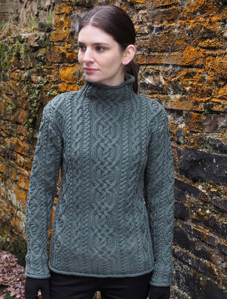 Super Soft Aran Roll Neck Sweater - Tundra