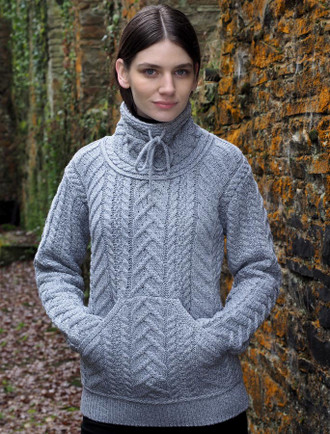 Luxury Aran Cowl Neck Sweater - Soft Grey