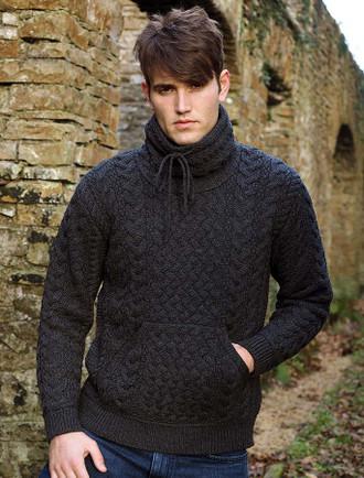 Men's Cowl Neck Aran Sweater - Charcoal