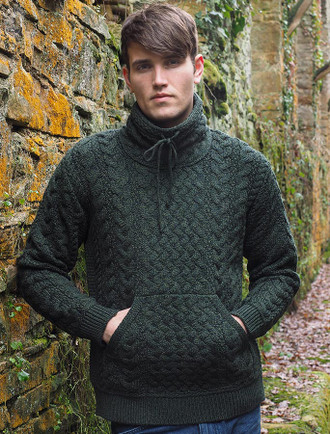 Men's Cowl Neck Aran Sweater - Army Green