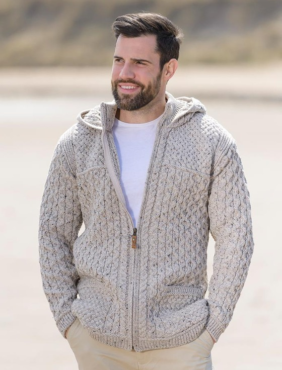 Hooded Merino Aran Jacket - Oatmeal