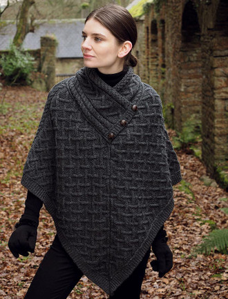 Luxury Lattice Stitch Poncho - Charcoal