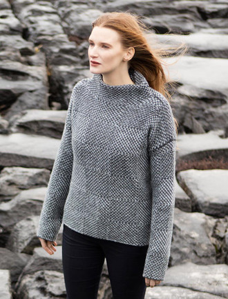 Shadow Blocked Mock Neck Sweater - Storm