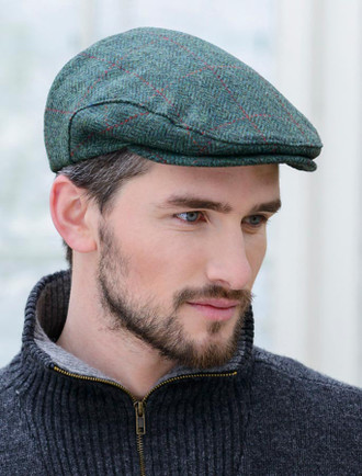 Trinity Tweed Flat Cap - Green Plaid