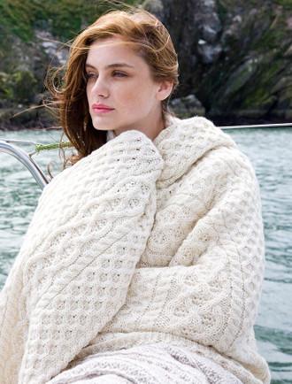 Luxury Aran Throw - White