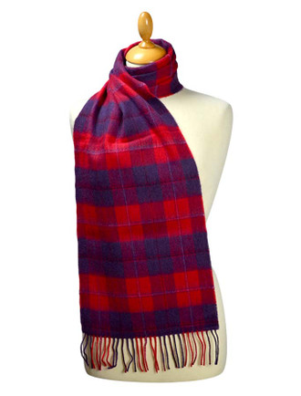 Fine Merino Plaid Scarf - Red Navy