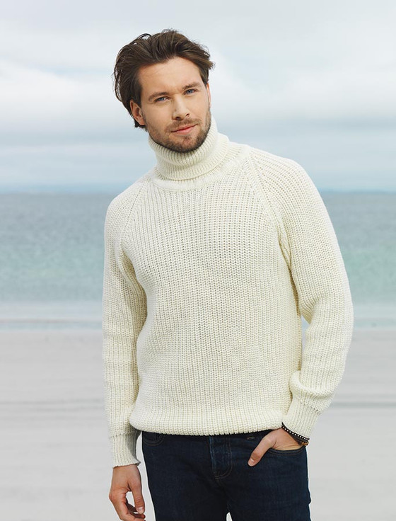 Fisherman's Merino Ribbed Turtleneck Sweater, Irish