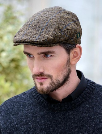 Trinity Tweed Flat Cap - Dark Olive