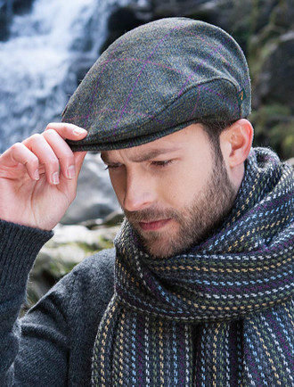 Trinity Tweed Flat Cap - Green with Pink