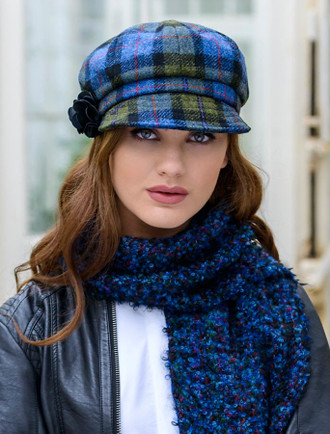 Ladies Tweed Newsboy Hat - Blue Green Plaid