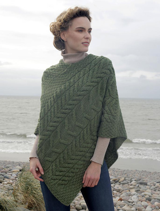 Super Soft Cable Stitch Poncho - Meadow Green