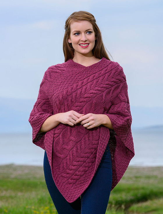 Super Soft Cable Stitch Poncho - Jam