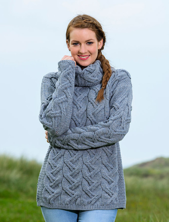 Super Soft Chunky Cable Cowl Neck Aran - Ocean Grey